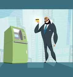 arab businessman and bank card vector image