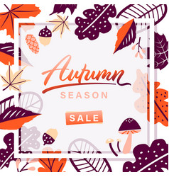 autumn leaves season sale frame on white vector image