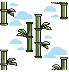 bamboo plant sticks seamless pattern chinese vector image