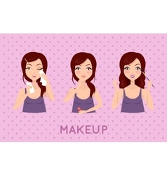 Beauty Woman Applying Makeup Set vector image