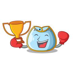 Boxing winner baby bib isolated on the mascot vector