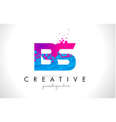 Bs b s letter logo with shattered broken blue vector