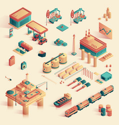 Business in refinery mini plant isometric 3d vector