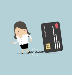 businesswoman breaks free from credit card vector image