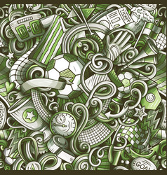 Cartoon doodles football seamless pattern vector
