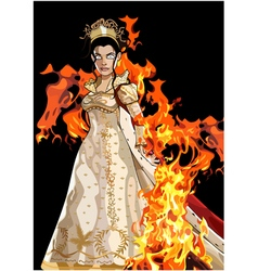 Cartoon fairy queen formidable in a dress vector