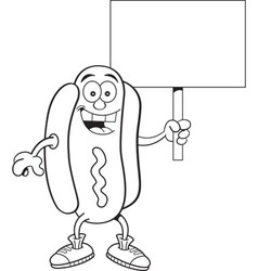 Cartoon hotdog holding a sign vector image