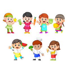 Children hold the fresh vegetables vector