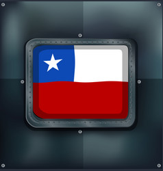 Chile flag on metal frame vector