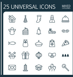 Christmas icons set collection of air ball vector