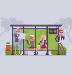 City bus stop people vector