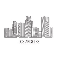 City landscape drawn with lines los angeles on vector