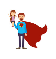 Colorful image caricature full body super dad hero vector