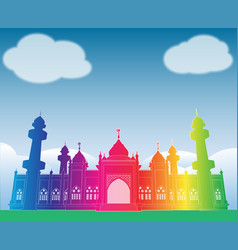 colorful rainbow mosque under blue sky at patani vector image