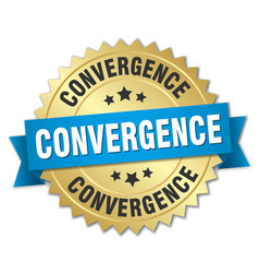 Convergence round isolated gold badge vector