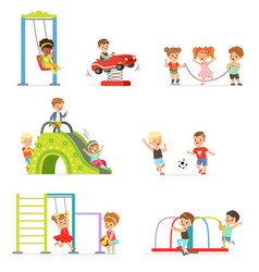 cute cartoon little kids playing and having fun at vector image