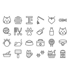cute cat related icon such as cat litter box and vector image