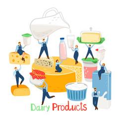 Dairy farm people vector