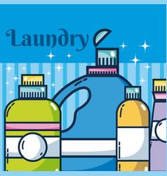 Detergent bottles laundry vector