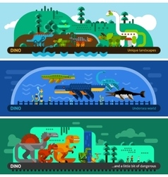 Dinosaur Banner Set vector image