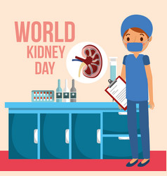 doctor surgeon in room medical world kidney day vector image