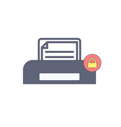 document lock paper print printer icon vector image