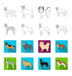 dog breeds outlineflat icons in set collection vector image