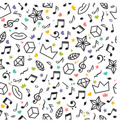 Doodle seamless pattern with music notes hearts vector