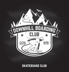downhill boarding club sign on the chalkboard vector image