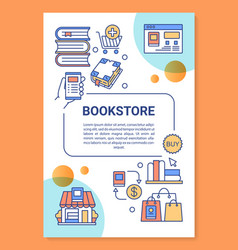 Ebook store poster template layout virtual book vector