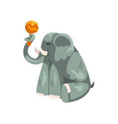 Elephant playing maraca cartoon animal character vector