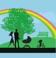 Family walk in park vector