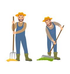 Farming people with rake set vector