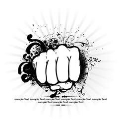 fist with rays background vector image