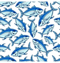 Flock of atlantic tuna fishes seamless pattern vector image