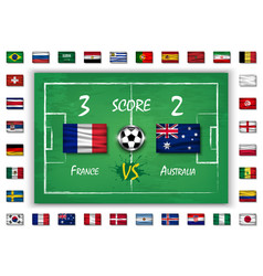 Football or soccer match with scoreboard vector