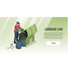 Garbage can isometric background vector
