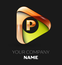 golden letter p logo in golden-green triangle vector image