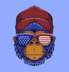 Gorilla head usa vector