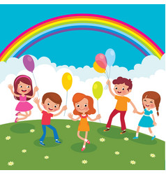 group of cheerful children with balloons playing vector image
