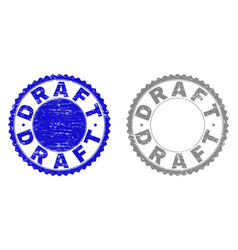 Grunge draft textured stamps vector