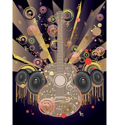 Grunge Guitar and Loudspeakers2 vector image