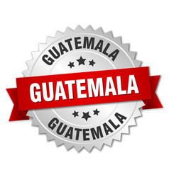 guatemala round silver badge with red ribbon vector image