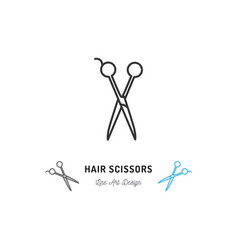 Hair scissors icon thin line art design vector