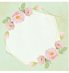 hand draw watercolor pink roses with golden frame vector image
