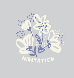 hand drawn shabby floral design element vector image