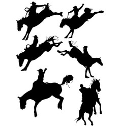horse rodeo silhouettes vector image