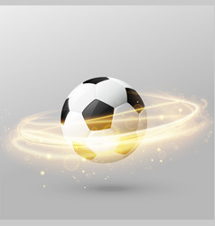 isolated football with shiny light ring effect vector image