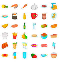 kitchen icons set cartoon style vector image