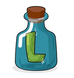 L in scientific laboratory bottle Letter in a vector image